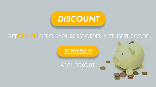 Use discount code SCHWEIZ10 and get CHF 10 off your first order!